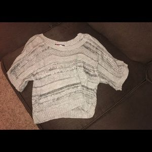 Women's gray Short Sleeve Sweater with Sparkles